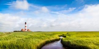 Farol de Westerheversand no Mar do Norte, Schleswig-Holstein, Alemanha Imagens de Stock