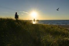 Farol do por do sol Imagem de Stock Royalty Free