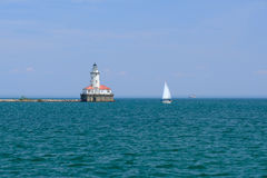 Farol do porto de Chicago, construído em 1893 Fotos de Stock