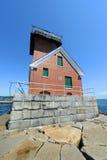 Farol do quebra-mar do porto de Rockland, Maine Imagem de Stock Royalty Free