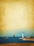 Farol e gaivotas Fotografia de Stock Royalty Free