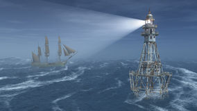 Farol e navio de navigação na noite Foto de Stock Royalty Free