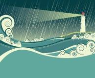 Farol e oceano na noite da tempestade Fotografia de Stock Royalty Free
