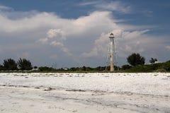 Farol e praia históricos imagens de stock royalty free