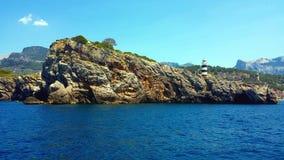 Farol em Porto de Soller, Majorca Mallorca, Espanha imagem de stock royalty free