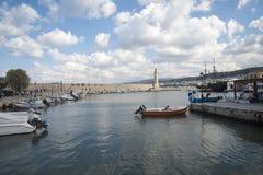 Farol em Rethymno, Grécia em um dia ensolarado Fotografia de Stock