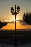 Farol en punto de vista del parque de la puesta del sol Fotografía de archivo libre de regalías