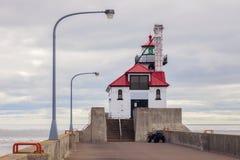 Farol exterior do quebra-mar sul do porto de Duluth Imagens de Stock