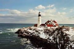 Farol leve principal de Portland em Maine Fotos de Stock Royalty Free