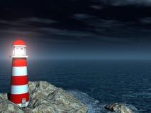 Farol na noite do mar Fotografia de Stock