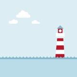 Farol na paisagem do mar. Imagens de Stock