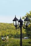 Farol negro del hierro en parque en estilo del vintage en fondo borroso Fotografía de archivo libre de regalías