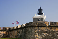 Farol no forte Morro em San Juan, Puerto Rico Imagem de Stock Royalty Free