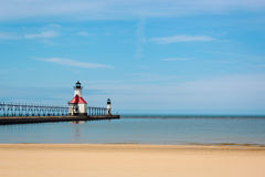 Farol no Lago Michigan Imagem de Stock Royalty Free