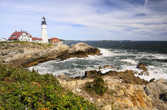 Farol no oceano, Portland Maine United States Foto de Stock Royalty Free