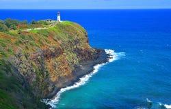 Farol no ponto de Kilauea, Havaí Fotografia de Stock Royalty Free