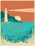 Farol no por do sol com ondas do mar Backgr subaquático do cartaz do mar ilustração do vetor