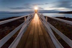 Farol no por do sol, Maine do ponto de Marshall, EUA imagem de stock royalty free