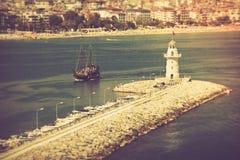 Farol no porto Alanya, Turquia Mar Mediterrâneo Fotografia de Stock Royalty Free