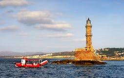 Farol no porto de Chania, Creta Imagem de Stock Royalty Free