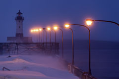 Farol norte do quebra-mar do porto de Duluth Imagens de Stock