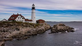 Farol perto de Portland, Maine imagem de stock royalty free
