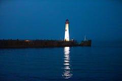 Farol Porto superior da península ao isla de Mackinac fotos de stock royalty free