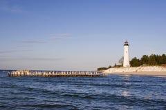 Farol torrado do ponto, Michigan EUA Imagem de Stock