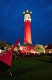 Farol velho em a noite, Wangerooge, Alemanha Fotografia de Stock Royalty Free