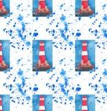 Farol vermelho brilhante no teste padrão sem emenda dos penhascos no esboço azul da mão da aquarela do pulverizador ilustração stock