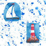Farol vermelho brilhante nos penhascos e teste padrão sem emenda do veleiro branco no pulverizador azul ilustração royalty free