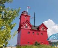 Farol vermelho em Holland Harbor fotografia de stock