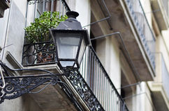 Farola in barcelona. Street light and balcony details in Barrio gotico , barcelona Stock Photos
