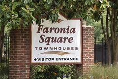 Faronia Square Townhouses, Memphis, TN. Faronia Square is a beautiful property situated in Memphis, Tennessee. Our centralized location is close to specialty royalty free stock photo