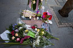 Farrah Fawcett Dead. Hollywood Blvd, Ca - Farrah Fawcett's Walk of Fame star is covered with flowers Stock Photos