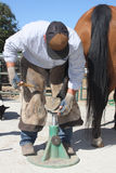 Farrier days. Farrier, horse shoeing man with horse, cowboy Stock Photo