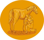 Farrier Placing Shoe on Horse Hoof Circle Drawing Stock Images