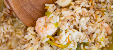Farro barley rice shrimp and zucchini flowers Royalty Free Stock Photos