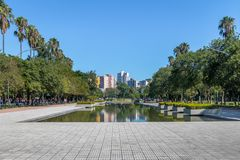 Farroupilha Park or Redencao Park reflecting pool in Porto Alegre, Rio Grande do Sul, Brazil stock photography