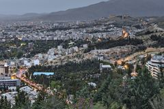 Twilight in the Iranian city of Shiraz, top view. Stock Images