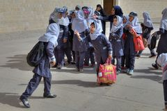 Iranian schoolgirls have prepared a guided tour to city museum. stock photography