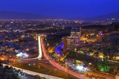 Lights of city night from top view, Shiraz, Iran. Stock Photos