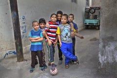 Group portrait of children yard football team, Shiraz, Iran. Stock Images