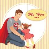 Farsa för toppen hjälte med dottern royaltyfri illustrationer