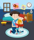 Farsa och barn i sovrum royaltyfri illustrationer