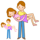 Farsa som kramar hans fru med båda händer. Hem- och familjtecken Arkivfoto