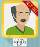 Farsabild i guld- ram och band för dagen för fader` s, vektorillustration stock illustrationer
