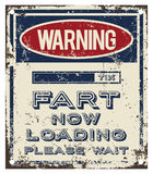 Fart Warning Board. Funny fart loading warning board Royalty Free Stock Photography