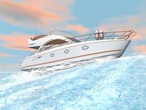 Fartfylld yacht - 3D framför stock illustrationer
