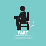 Farting Man On A Chair Black Symbol Stock Image